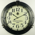Antique black metal porthole wall clock