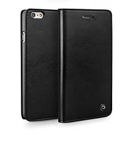iPhone 6 Genuine Leather Case R&R Book Style Flip Folio Top Grade Real Leather Handmade Case and Wallet (4.7 inch) (Black)