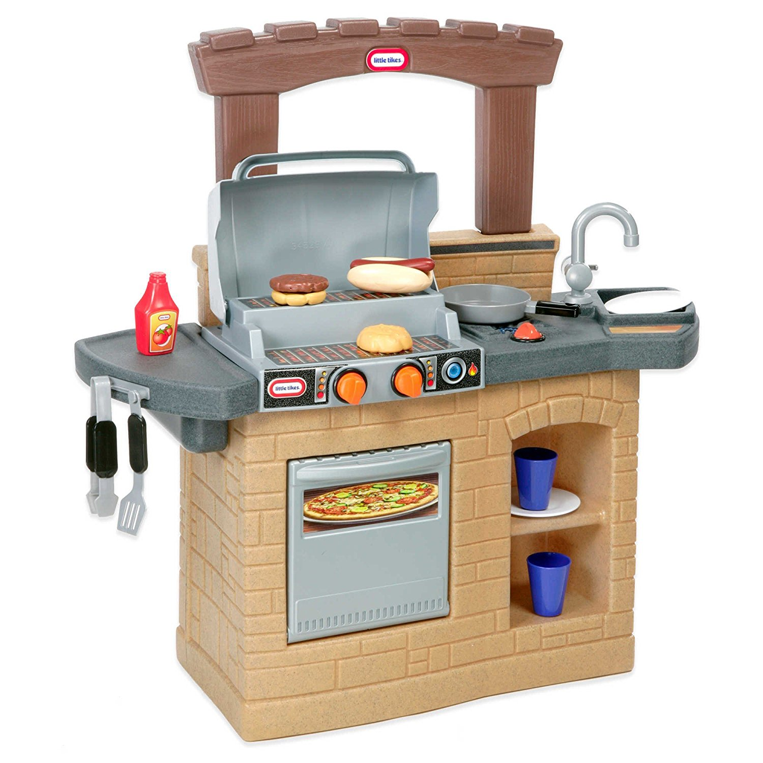 Sleek and Modern Little Tikes® 633911M Cook 'n Play Outdoor Kids BBQ™ Features Modern Styling with Working Oven ,Fridge doors,Clicking knobs, Best for your King and Queen children 2 years and up