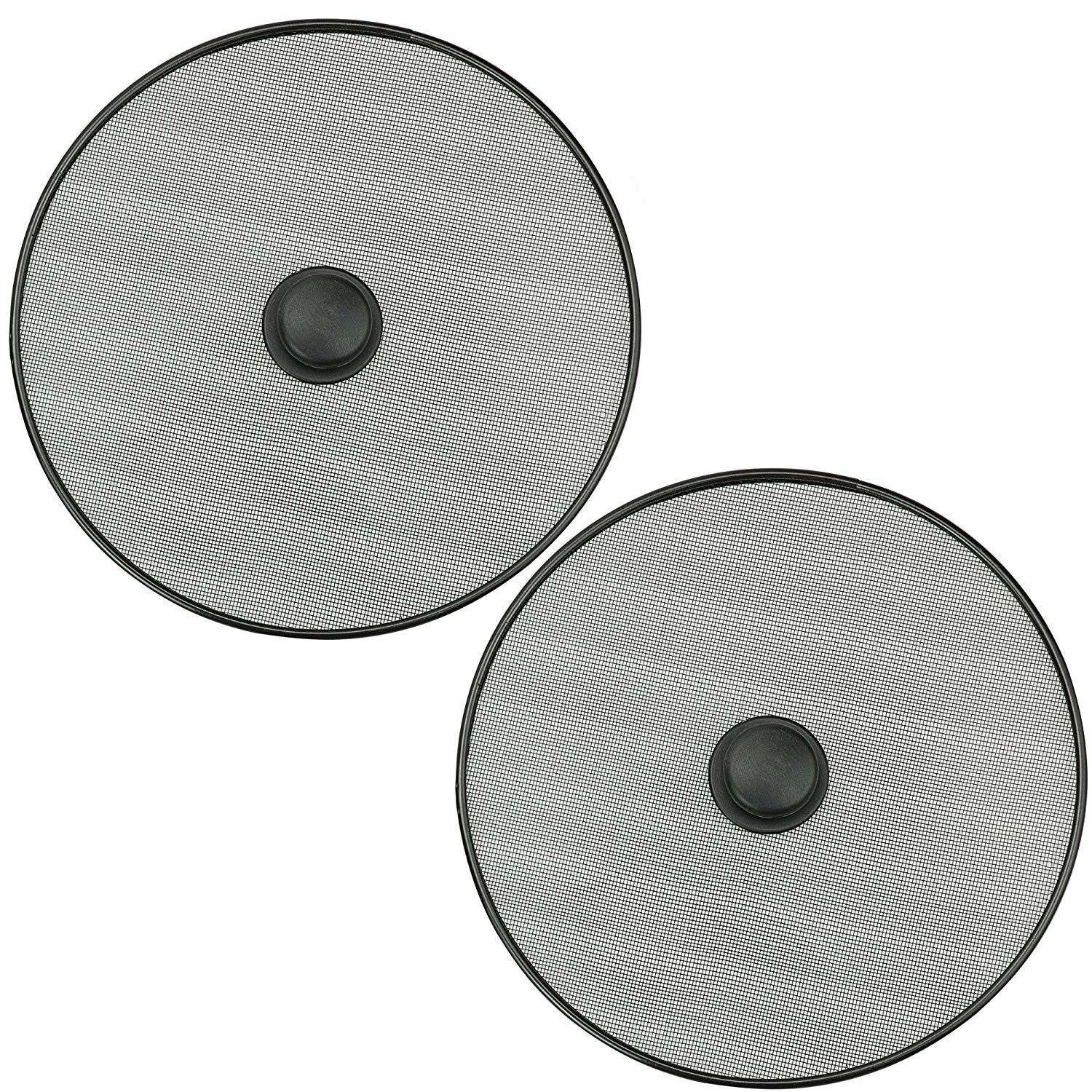 DecorRack Pack of 2 Splatter Screen Protector 11 inch, Mesh Lid, Splatter Guard with Knob for Frying Pan and Cooking, Steel Mesh Oil Splatter Screen Cover, Flat Strainer in Black (2 Pack)