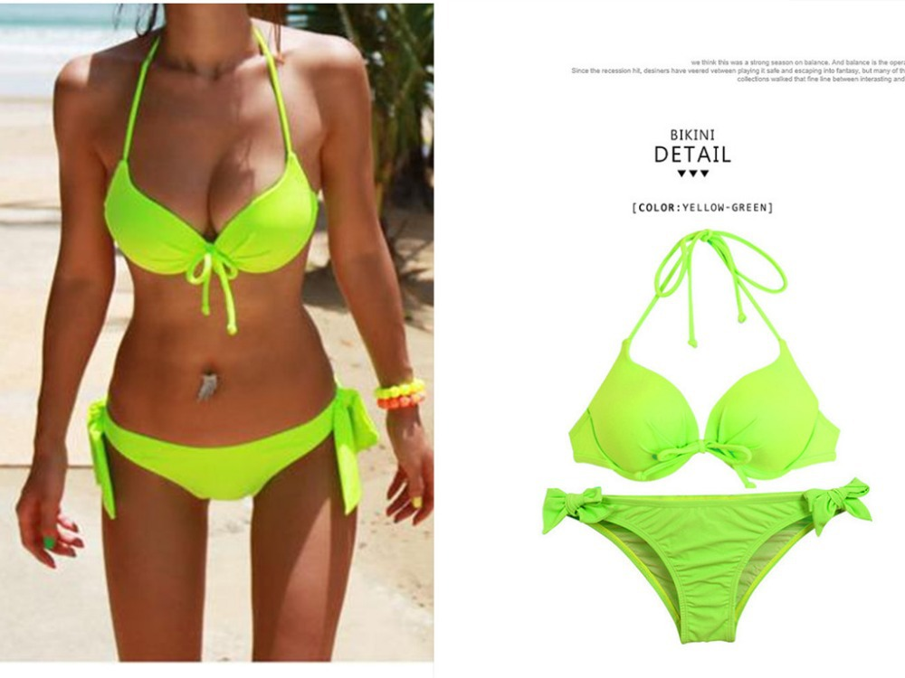 0f6b53a05de2b Get Quotations · Sexy Dazzling Neon Bathing Suits Women Plus Size Swimwear  High Waisted Shorts Small Underwire Push Up