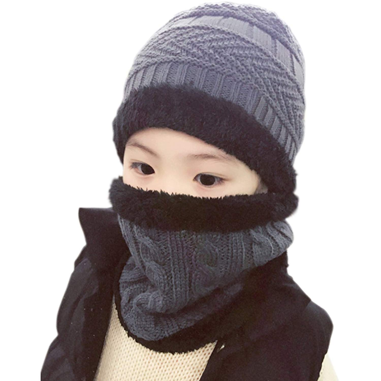 19d5e808f59f6 Get Quotations · Lanzom 2 Pcs Kids Boys Girls Hat and Scarf Set Warm Winter  Snow Knit Beanie Slouchy