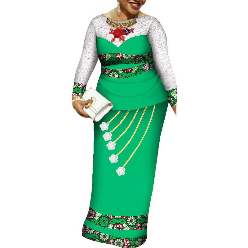 Private Custom African Clothing Dress Bazin Riche Women Dress Suit Half Sleeve Tops and Long Print Skirt Large Size 6XL WY3379