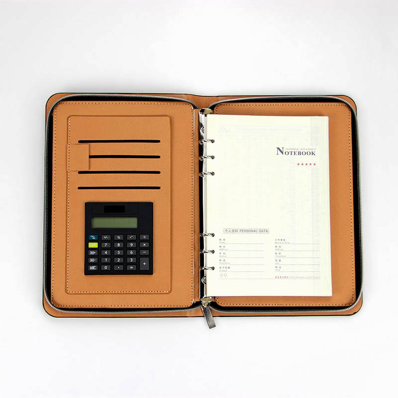 PU Leather Business Portfolio Organizer Notebook Zippered Office Notepad with Solar energy Calculator Money Card Passport Holder