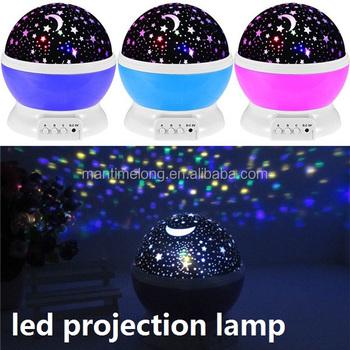4dba999e9f2e Romantic Led Night Lamp Rotating Starry Star Moon Sky Rotation Night Lighting  Projector Lamp Kids Children