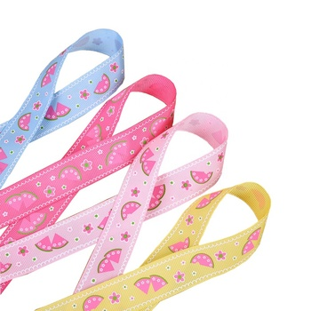 1 inch polyester gross grain ribbon printed flower printed ribbon