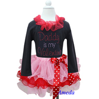 Girl Valentine's Day Light Pink Red Petal Tutu Plus Rhinestone Daddy is my Valentine Black Long Sleeves Top 1-7Y