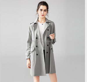 2017 Europe and the United States autumn new products in the long paragraph loose double-breasted women's coat