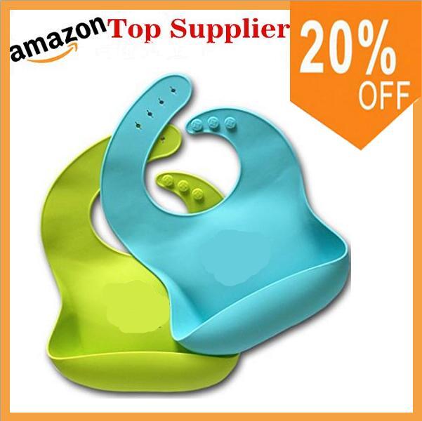 Bavoir bébé en Silicone souple et imperméable Amazon avec attrape-nourriture, bavoir en Silicone pour bébé