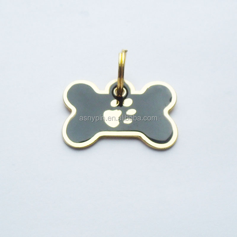 Paw logo bone shape metal gold pet id tags with split ring