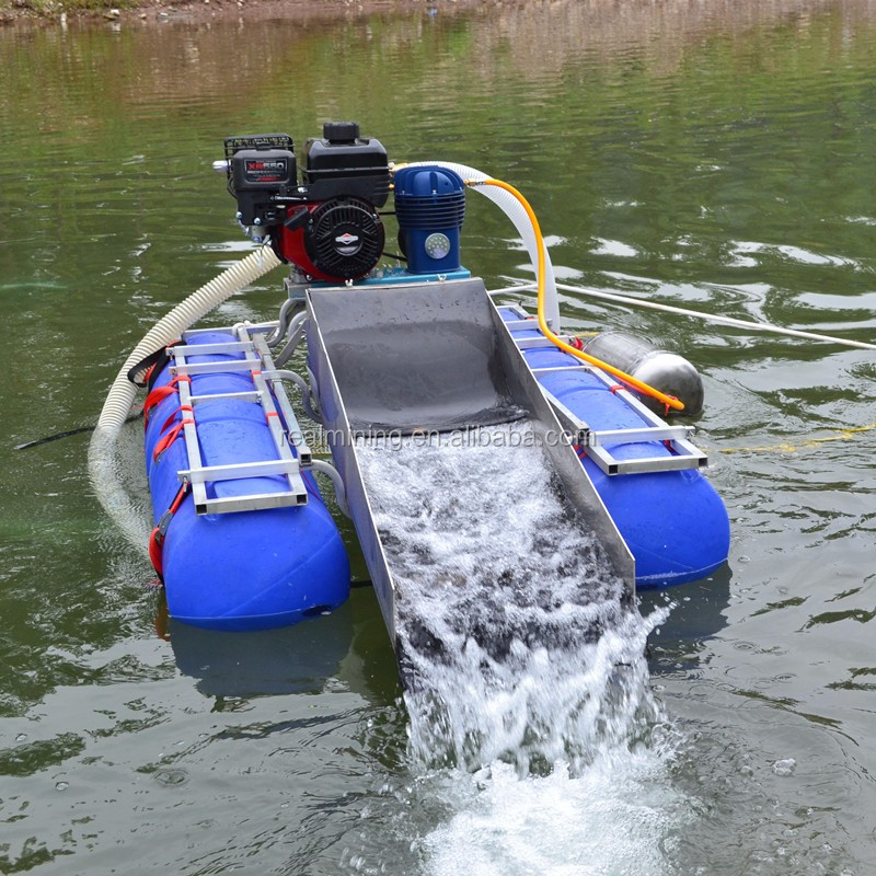 Portable Suction Dredge : Sand suction pump pontoon type mini dredge for gold mining
