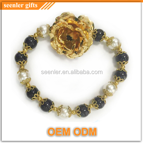 wholesale 2015 new flower design fashion 24 carat gold rose bracelet with white pearls