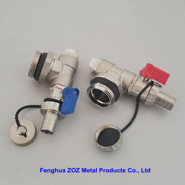 Heating Manifold Drain / Filling Valve With Red And Blue