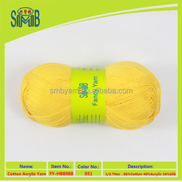 China hand knit mixed yarn manufacturer smb hot wholesale oeko tex quality silk cotton blend knitting yarn