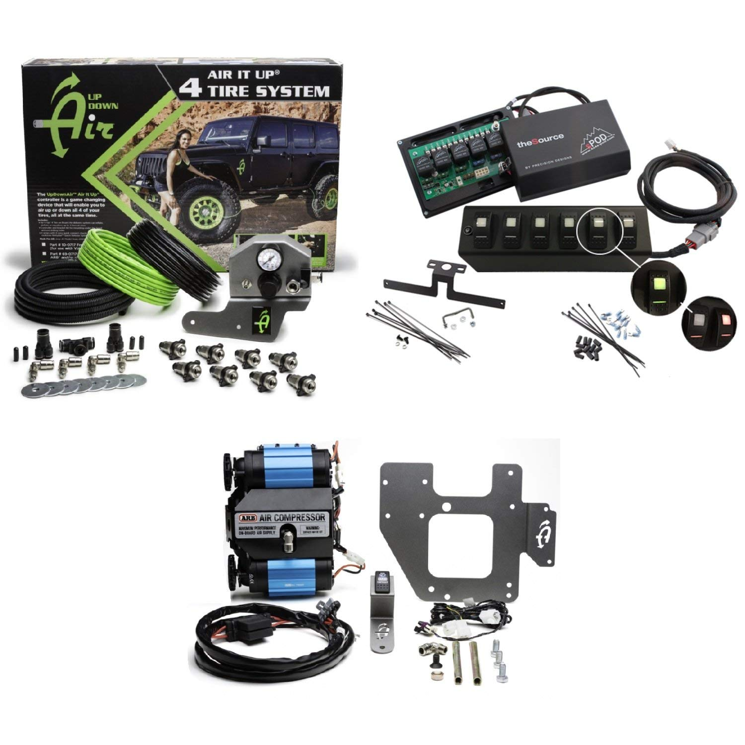 Up Down Air 22-7810/69-0717 Air it up 4 Tire On Board Air Delivery w/ARB CKMTA12 Compressor & sPOD 600-07LT-LED-B Double LED Contura Rocker All Blue 6 Switch & Source System for 07-08 Wrangler JK