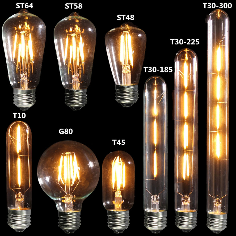 Vintage E27 Edison Bulb LED Lamp ST64 Retro Filament COB <strong>Light</strong> 110V 220V 2W/4W/6W/8W