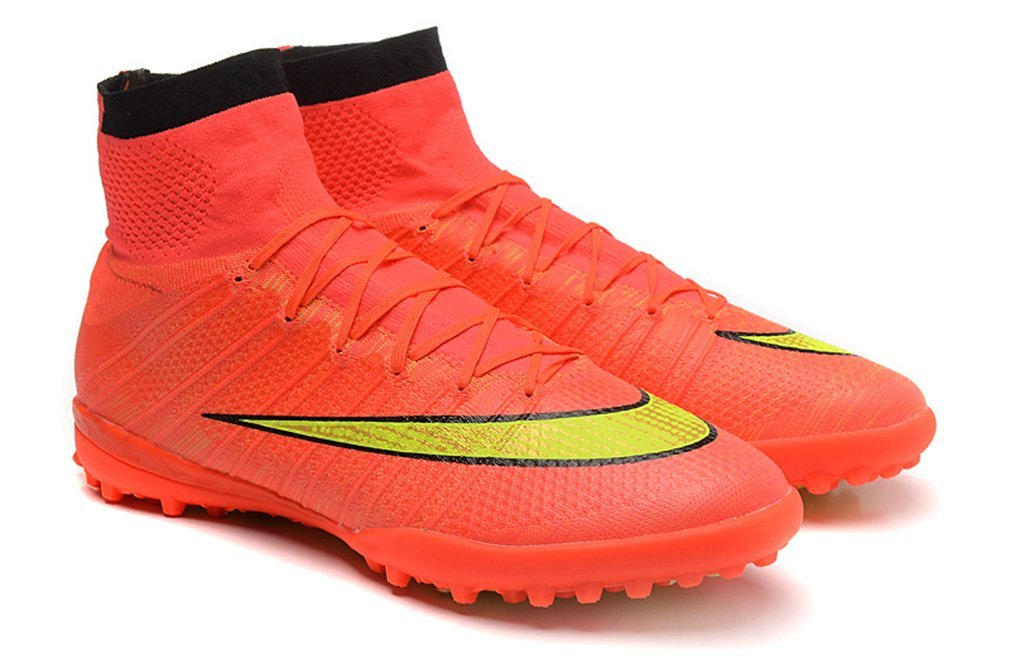 a4070db3393 Get Quotations · Men s Elastico Superfly TF Orange High Top Football Shoes  Soccer Boots