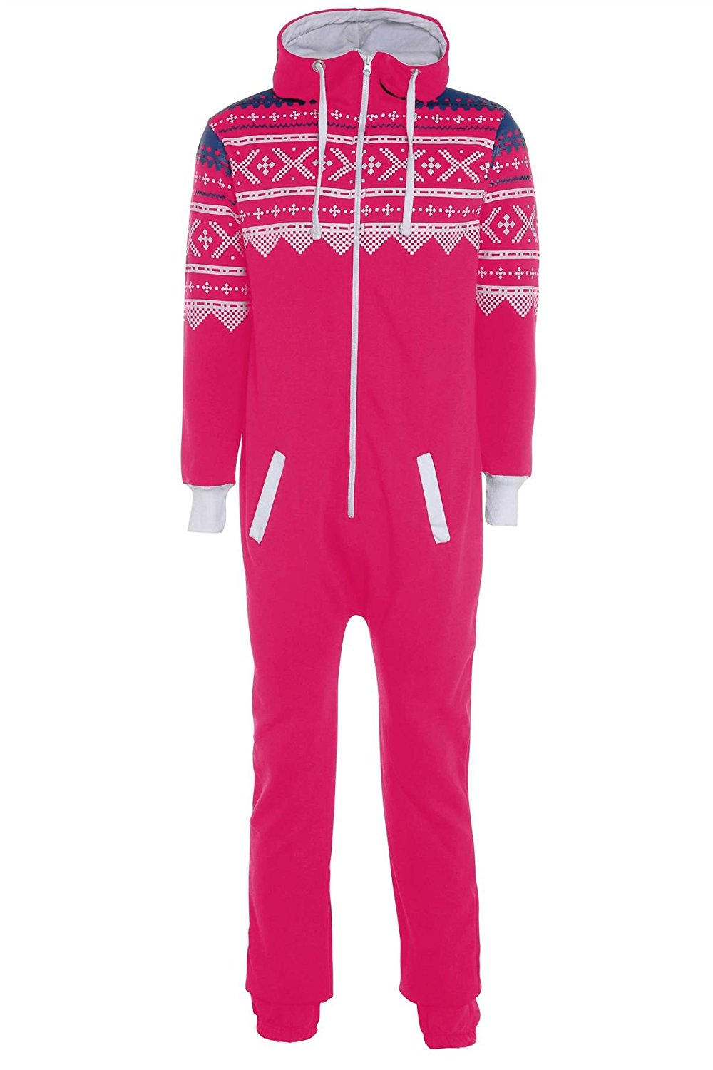 5f3bd7fd2121 Get Quotations · Janisramone New Womens Hooded Aztec Print Fleece All In One  Unisex Jumpsuit Onesie Playsuit
