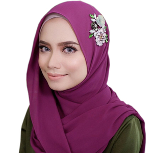 2019 Fashion Beading Chiffon Islamic Girl Dubai Hijab Stylish Muslim Scarf