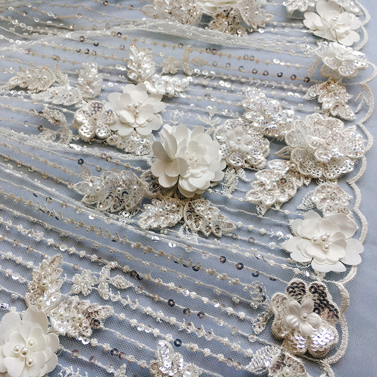 3D Flower beads Embroidery Lace for Evening dress hand beaded embroidery lace fabric for wedding dress