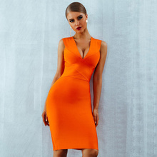 ADYCE Zomer Vrouwen <span class=keywords><strong>Bandage</strong></span> Jurk Vestidos Verano <span class=keywords><strong>2019</strong></span> Oranje Rood Tank Sexy Diepe V-hals Mouwloze Bodycon Celebrity Party Dress