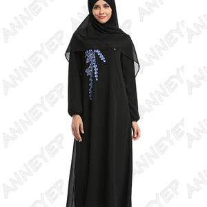 Dubai Kaftan Polyester Dress Embroidery Islamic Clothing Abaya