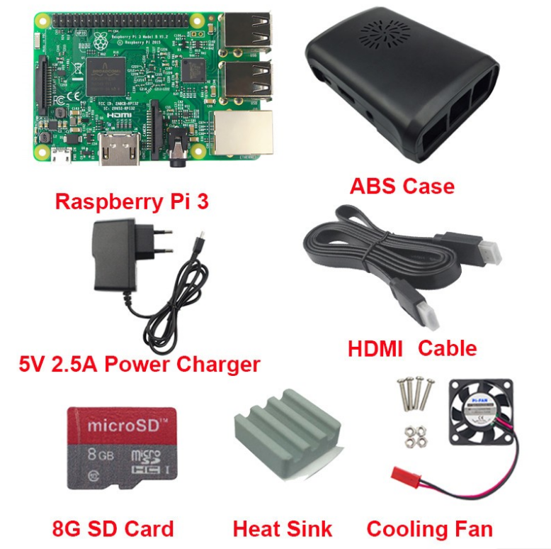 Raspberry Pi 3 Board B Starter Kit Include 5v 2 5a Power Charger/case/heat  Sink/cooling Fan/cable /8g Card - Buy Raspberry Pi 3 Kit,Raspberry Pi 3
