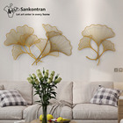 Sankontran Handmade Gold Metal Wall Art Gingko Leaf for Home Decoration