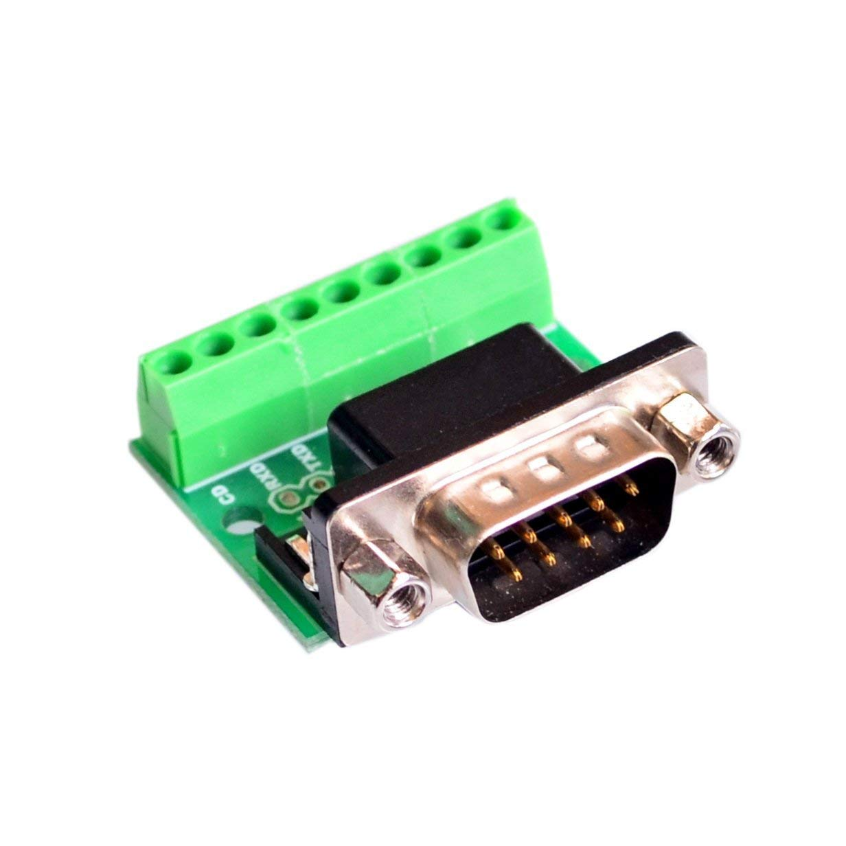 Bestol 10PCS/LOT DB9 RS232 Serial to Terminal male Adapter Connector Breakout Board Black+Green