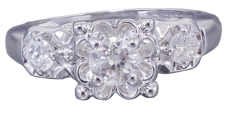 14k White Gold Round Cut Diamond Engagement Ring Art Deco Antique Style 0.60ct