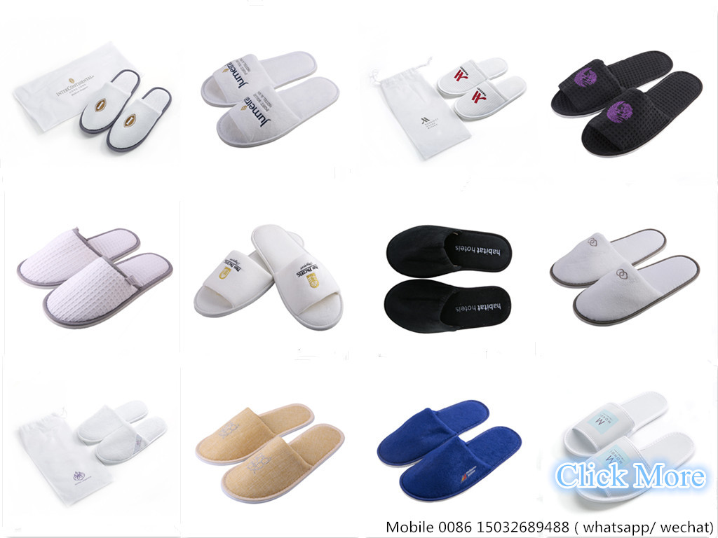 washable black Cotton Velour hotel slippers with customized logo