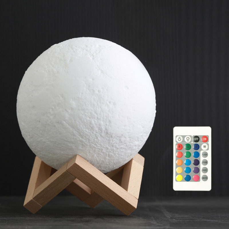 8 센치메터 Mini Small 충전식 USB touch 팻 RGB remote control multicolor Led 밤 빛 3D printing 달 Lamp