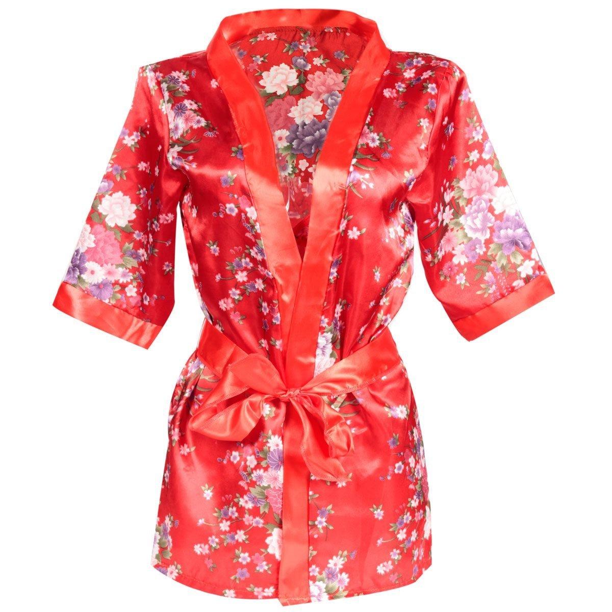 New 1 Set Hot Sexy Women G-string Lingerie Satin Lace Red Kimono Intimate Sleepwear Robe Sexy Night Gown women Sexy Underwear
