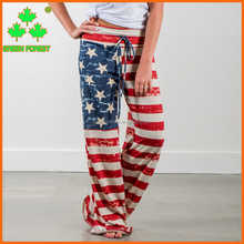 women american flag wide leg trousers with drawstring