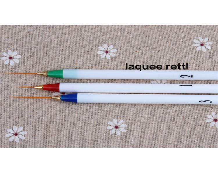 3pcs Pro Nail Art Brush Set Painting Polish Drawing Pen Tools