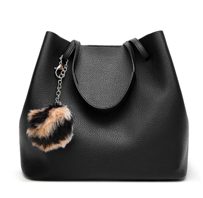 6309f7d52fb2 2019 New fashion ladies big shoulder hand bag woman handbags with free coin  purse