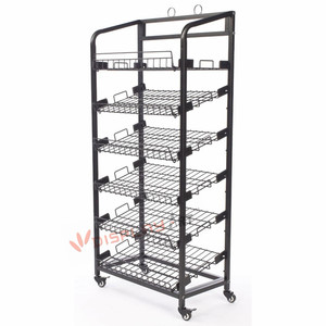 Exhibition Wire Bread Display Rack with Shelf
