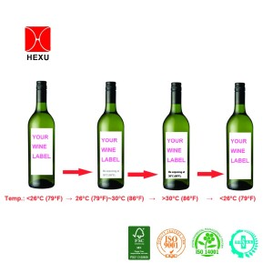 Temperature-sensitive color changing Thermal wine label
