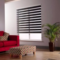 Ready Made Polyester Fabric Zebra Blinds For Home