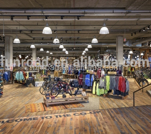 Outdoor gear retail shop interior design customized wooden display furniture