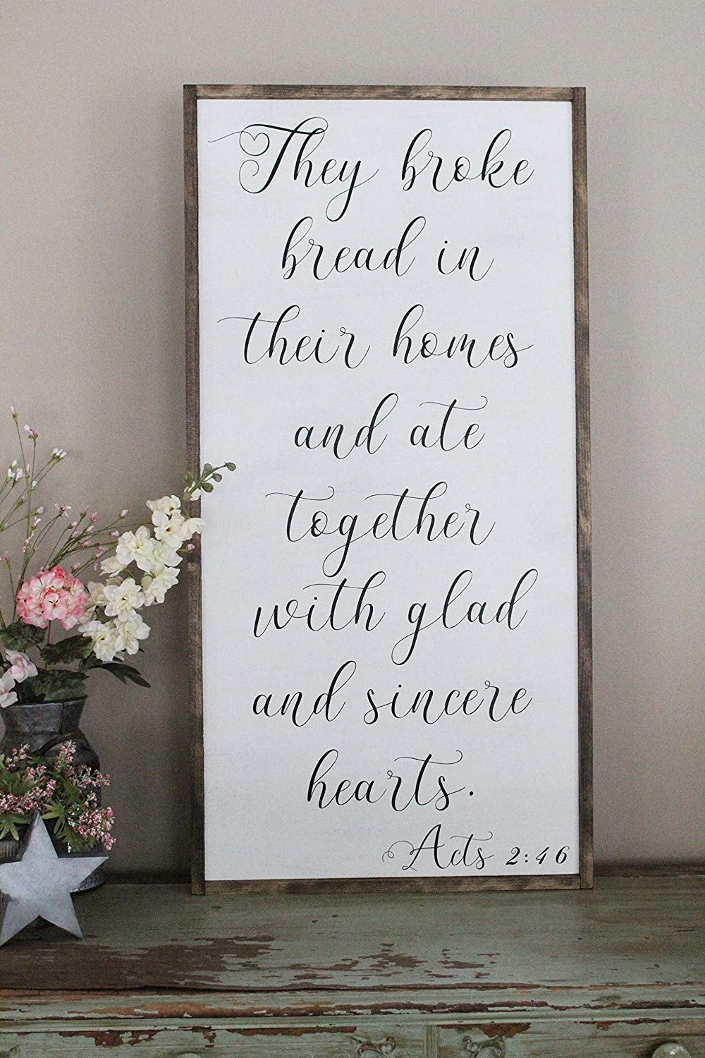 They Broke Bread In Their Homes And Ate Together Wall Art/Hand Painted Sign/Farmhouse Decor/Wall Decor/Home Decor/Modern Artwork/Large Framed Artwork