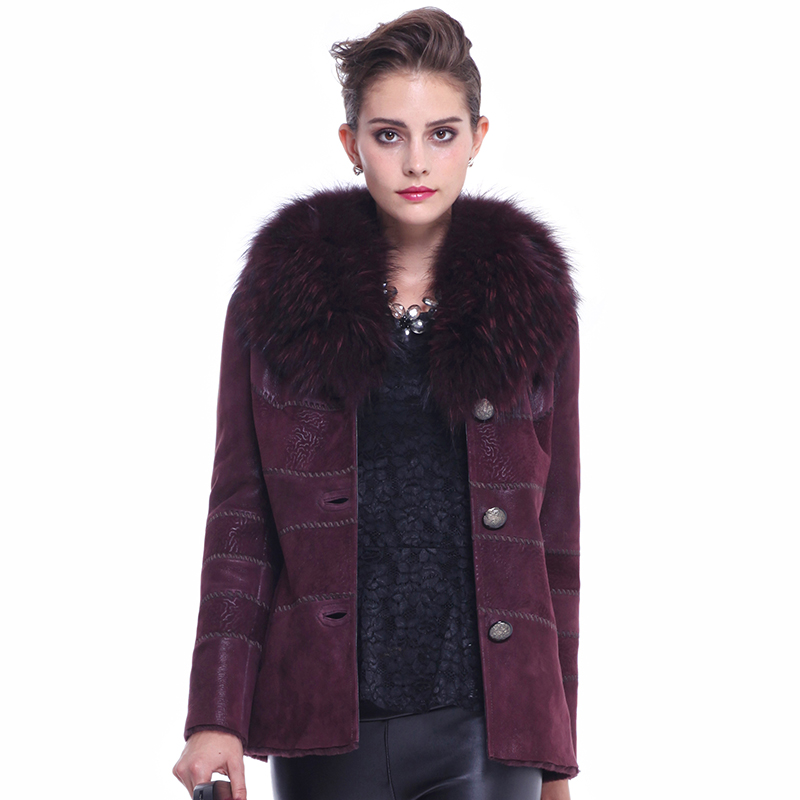 Women's winter fashion luxury casual raccoon fur square collar sheepskin one piece wool lining slim deisgn coat