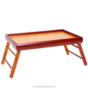 wooden Dinner Tray and Wooden Breakfast in Bed Foldable Portable Serving TV Table with Stand - 20.5 ""