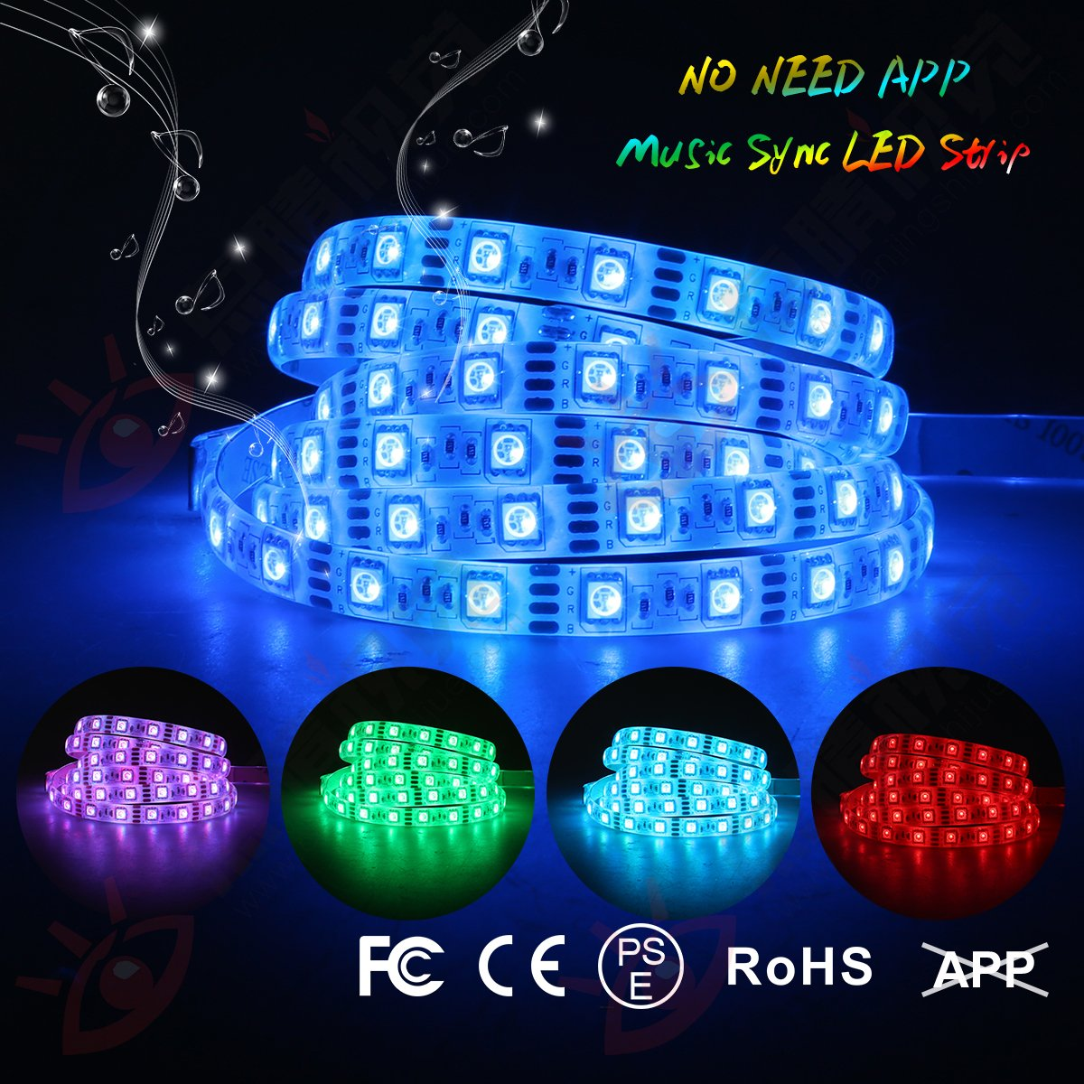 LED Light Strip Sync Music Light Strip 3.94FT 5V USB LED Strip IP65 Waterproof Dream Color Lights 5050 RGB Strip Kit with Controller Music Changing LED Strip Light by DotStone
