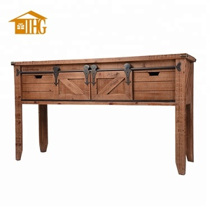 Antique Wood Distressed Drawer Console Table