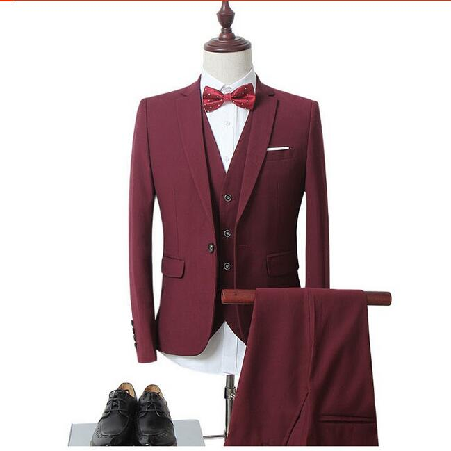 WB011 (Jacket+Vest+Pants) Men Slim Fit Suits Plus Size M- 6XL Mens White Wedding Suits With Pants Business Mens Formal Wear