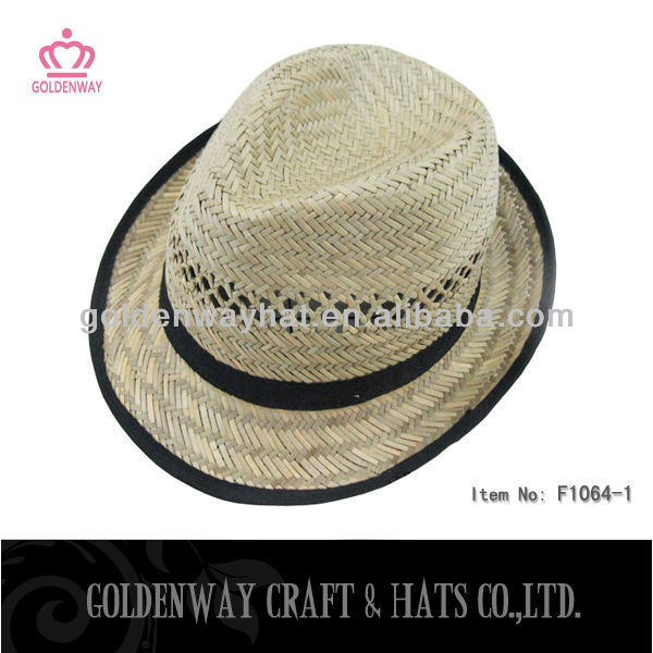 2013 new design hollow straw fedora hats natural straw unisex factory custom design