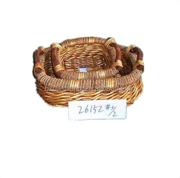 S/2 cheap wholesale wicker willow round basket sets with wood ear handles for storage