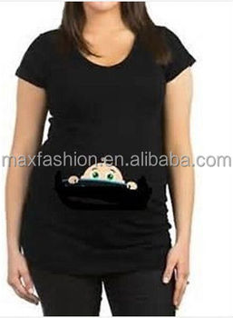 7bd9c46091b82 Maternity Top With A Baby Peeking Out,Funny Maternity T-shirt - Buy ...