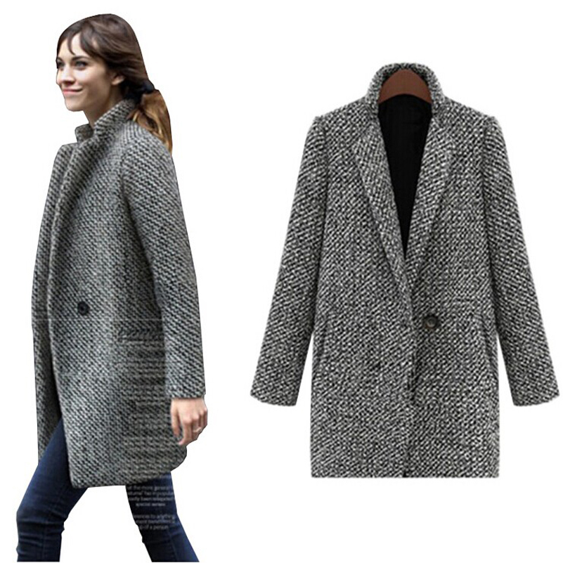 f9ddba9ff991f Buy 2015 New Wool Winter Coat Women Fashion Single Button Woolen Winter  Jackets Women Casual Plus Size Grey Warm Trench Laides in Cheap Price on  m.alibaba. ...